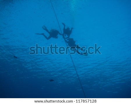three divers with a rope