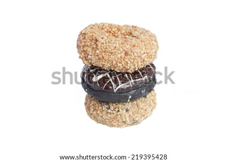 three donuts on white : isolated - stock photo