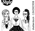 "Three doodle fashion ""hipster"" women. Raster. - stock photo"