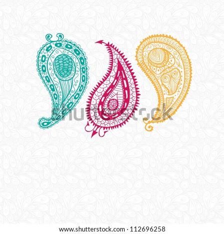 Three doodle paisley elements. Raster. - stock photo