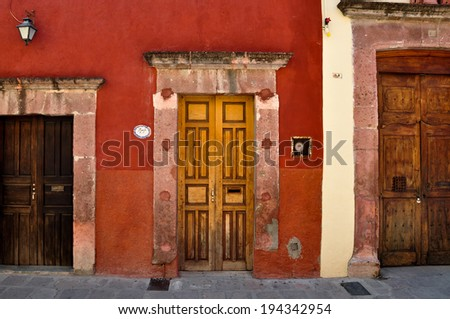 Three doors with different sizes, San Miguel de Allende, Mexico - stock photo