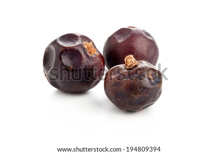 Three dried juniper berries on white background macro shot - stock photo