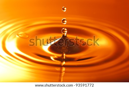 Three drops of water above the circles. - stock photo