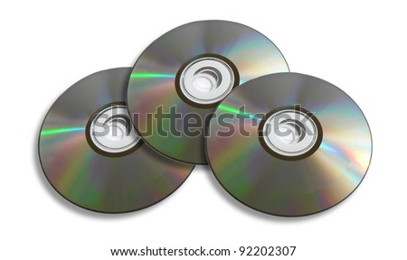 Three DVD / CD Discs Isolated On A White Background