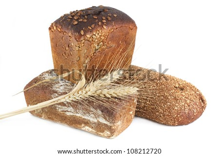 Three ears of corn bread isolated on a white background - stock photo