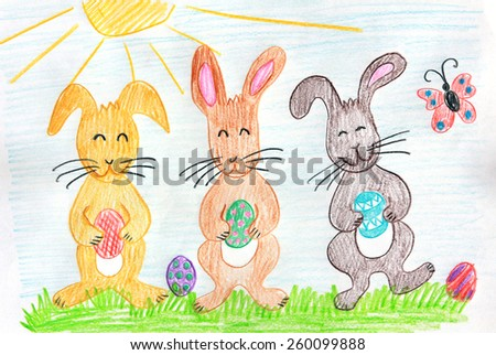 three easter bunnies with painted eggs - children drawing - stock photo
