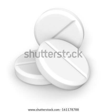 Three effervescent tablets on white background with clipping path. - stock photo