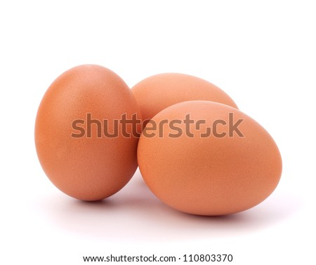 three eggs isolated on white background - stock photo