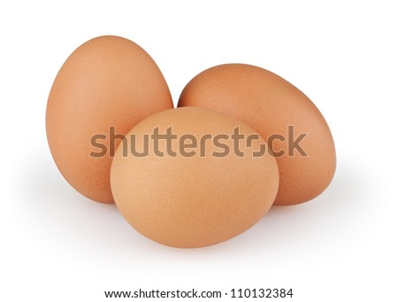 Three eggs isolated on white background with clipping path - stock photo