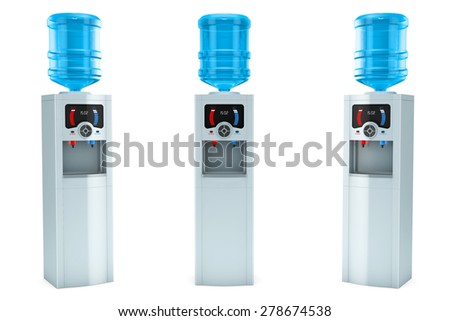 Three Electric water coolers with bottles on a white background - stock photo