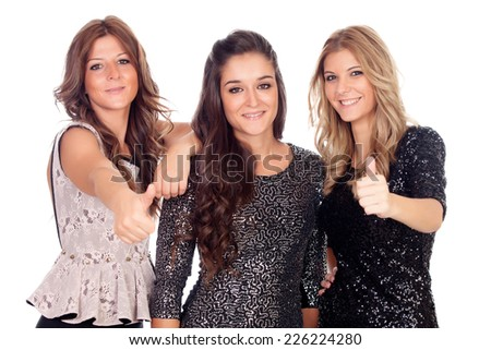 Three elegant friends with beautiful dresses isolated on a white background - stock photo