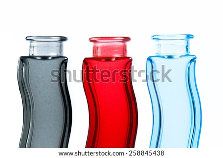 three elegant vases of different coloring - stock photo