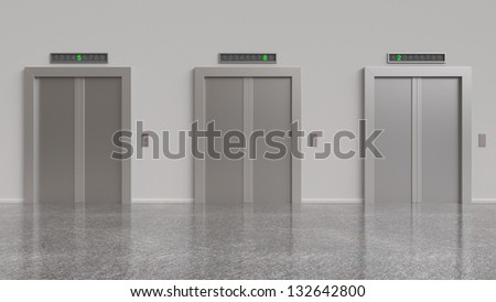 three elevator with closed doors, 3d render - stock photo