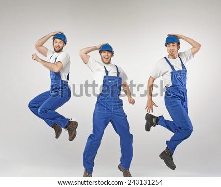 Three employees jumping - stock photo