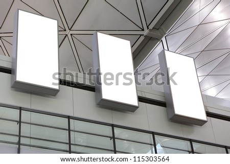 Three empty billboard in the building, shot in asia - stock photo
