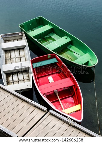Three Empty Boats - stock photo
