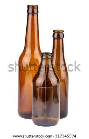 Three empty brown bottles isolated on white background