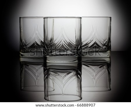 Three empty glass for whiskey