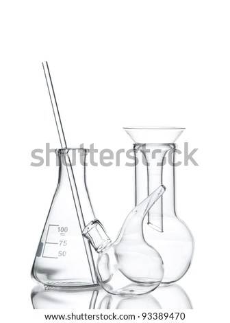 Three empty laboratory glassware with reflection isolated on white - stock photo