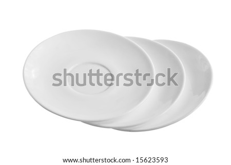 Three empty plates isolated on white background