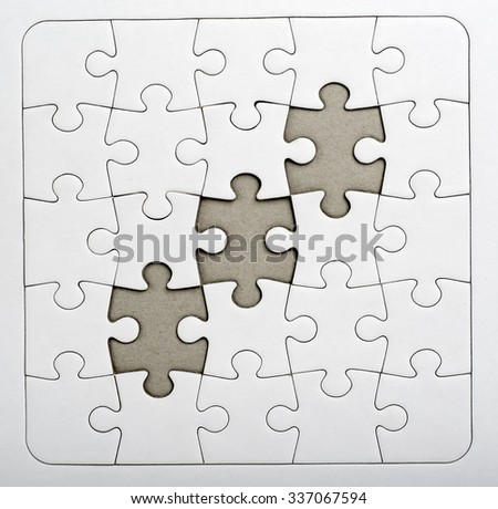 Three empty puzzle. Business concept need more ideas to complete the work