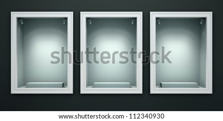 Three empty showcases of the shop illustration - stock photo