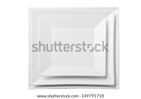 Three empty square white plates. Isolated on white background - stock photo