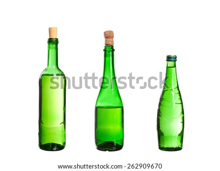 Three empty unlabeled bottles isolated on white background