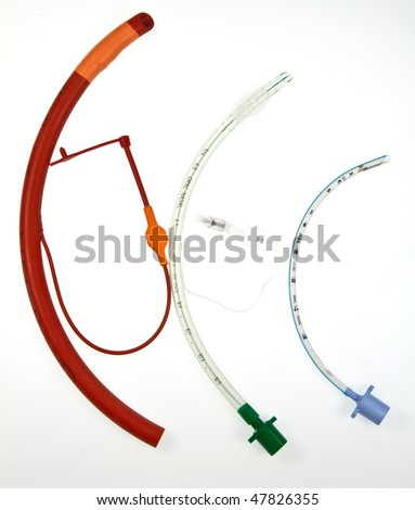 Three endotracheal tubes which are passed through larynx into the windpipe, using a laryngoscope , during an anaesthetic to maintain an airway and supply oxygen and inhaled anaesthetic.