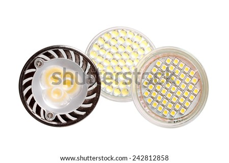Three energy saving LED light bulbs isolated on white - stock photo
