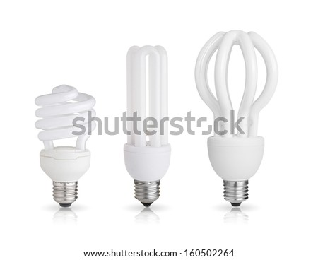 three energy saving light bulbs isolated on white background  - stock photo