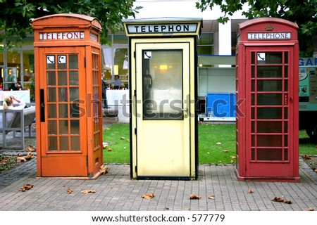Three European telephone booths