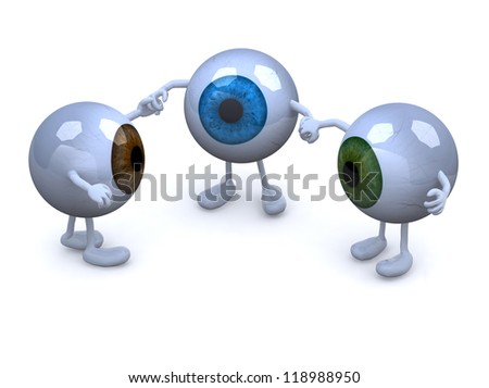 three eyeball with arms and legs in different colors holding hands, 3d illustration - stock photo