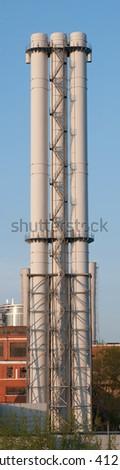 three Factory pipe - stock photo