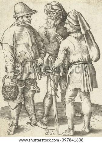 Three Farmers in Conversation, by Albrecht Durer, German print, engraving. 1567 copy of the Durer original by Abraham de Bruyn - stock photo