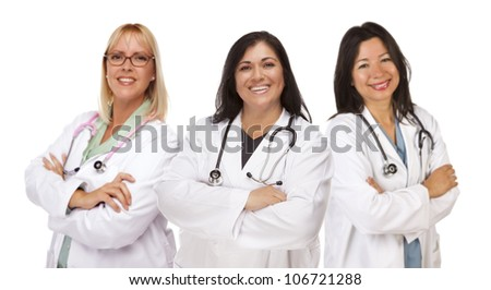 Three Female Doctors or Nurses Isolated on a White Background.