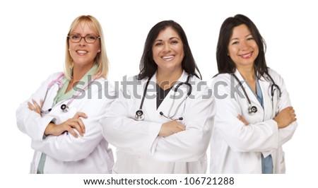 Three Female Doctors or Nurses Isolated on a White Background. - stock photo