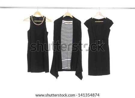 Three female dress on hanging - stock photo