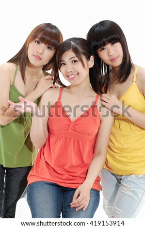 Three Female Friends Having Fun Together - stock photo