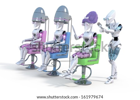 Three female robots sitting on salon style chairs getting their hair styled against a white background. - stock photo