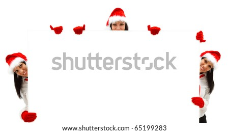 Three female Santas with red hat and gloves over a white billboard