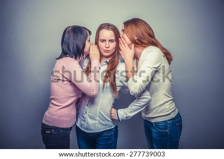three female  woman woman  friends girl gossip rumors surprise surprise on a gray background instagram effect style