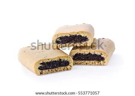 Three fig cookies with shadow isolated over a white background with clipping path and copy space included.
