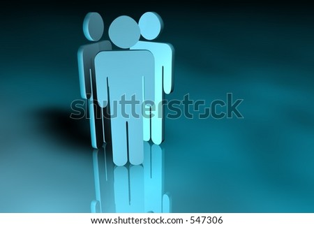 Three figures back to back - stock photo