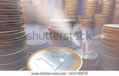 Three figures, men exploring, examining treasury, treasure house containing stacks of euros under haze, mist, 3d rendering  - stock photo