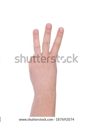 Three fingers. Isolated on a white background.