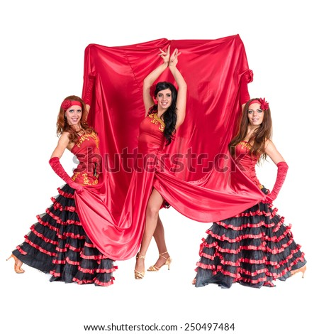 Three flamenco dancer posing on an isolated white background in full length - stock photo