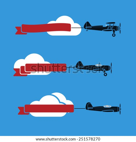 Three flat looking planes in the sky with ribbons and clouds - stock photo
