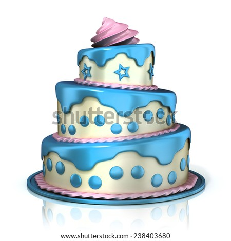Three floor cake 3D rendering isolated on white background. Blue, pink and white cream - stock photo