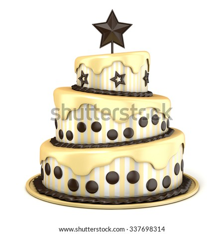 Three floor cake with vanilla and chocolate cream. 3D rendering illustration isolated on white background.  - stock photo